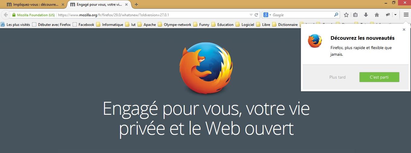 Démarrage Firefox 29