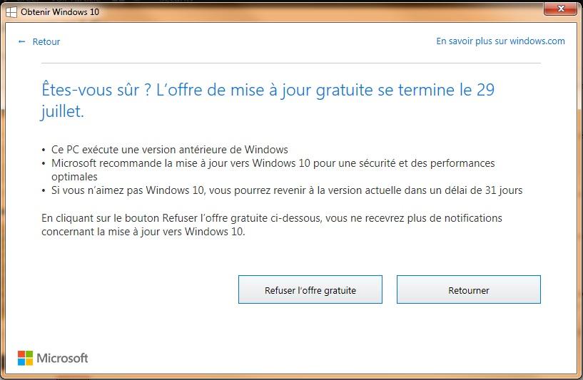 Refus de Windows 10