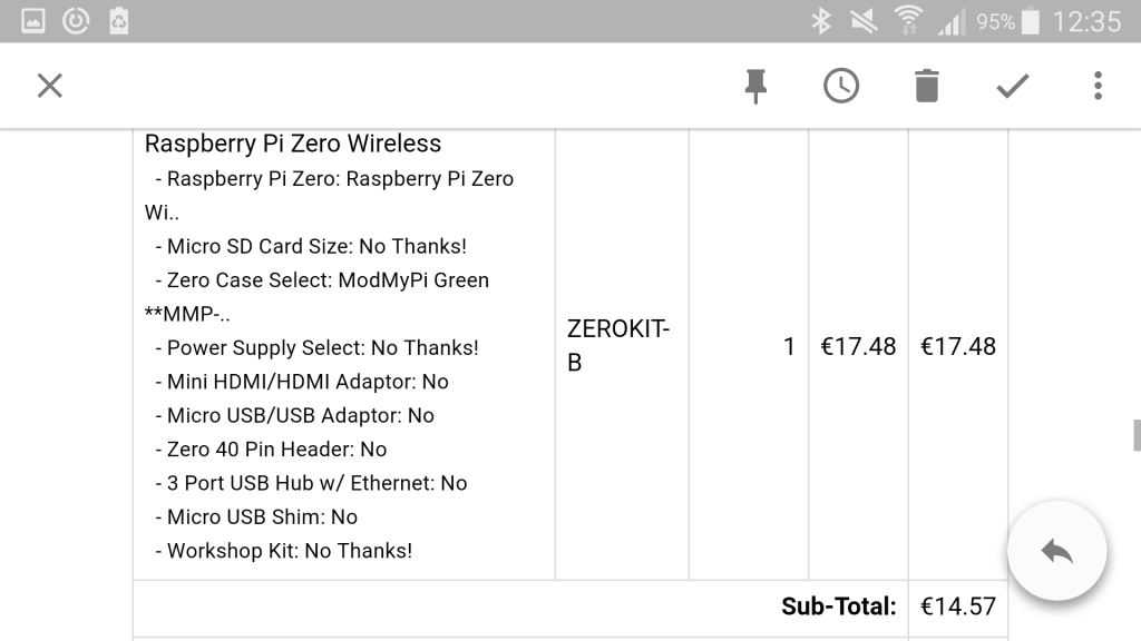 Commande Raspberry Pi Zero W
