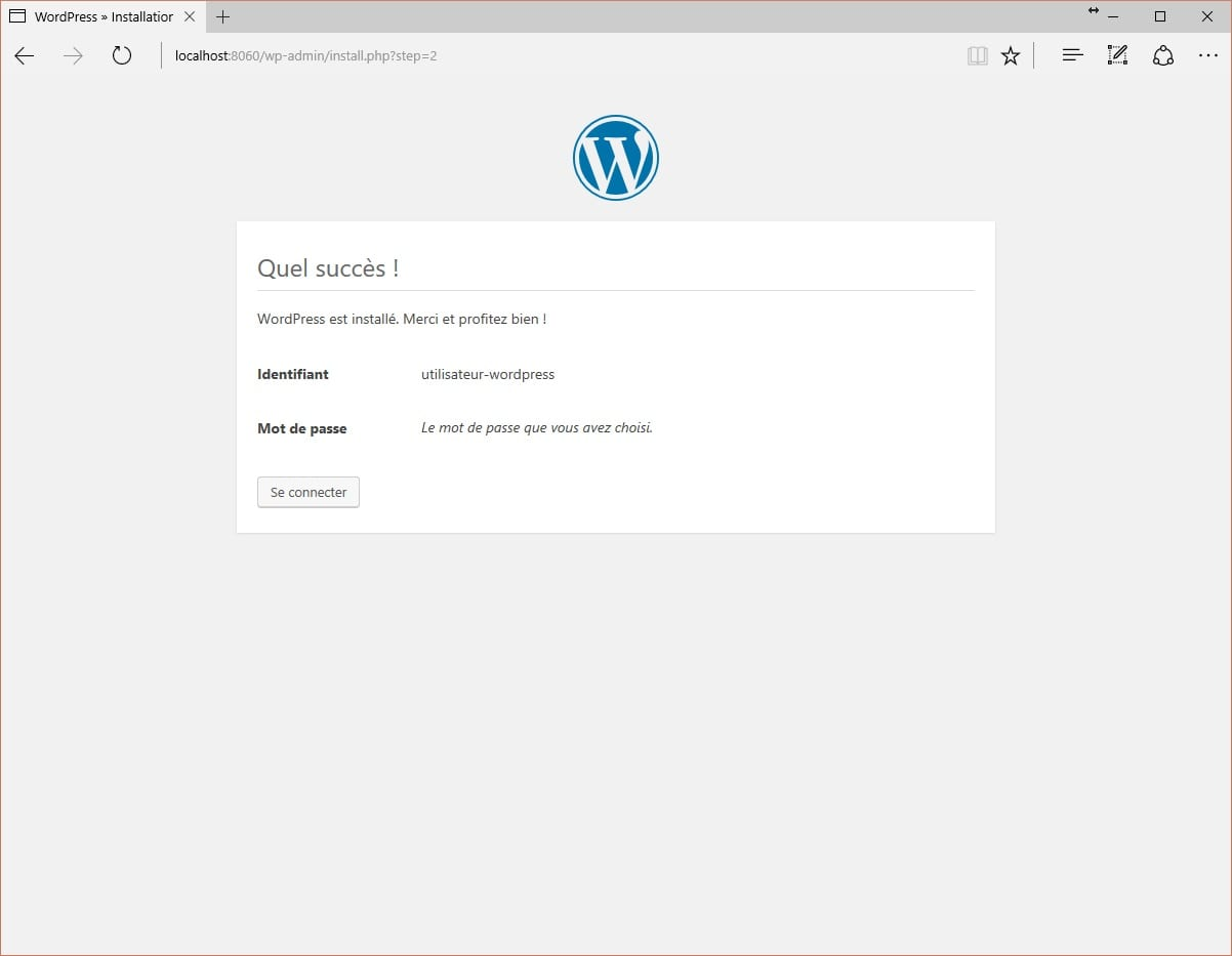 Lancement WordPress