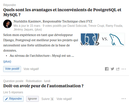 Question Développeur Quora