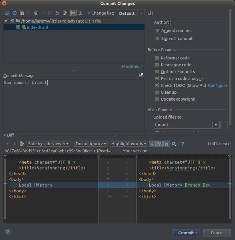 Modification d'un fichier dans la branche Dev sous PHPStorm