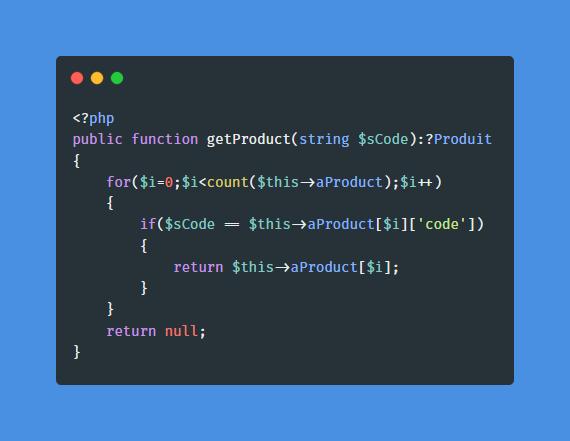 Accolade ajoutée à la fonction getProduct avec retour à la ligne