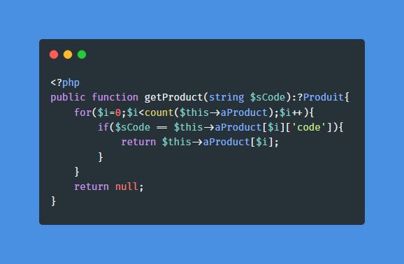 Accolade ajoutée à la fonction getProduct sans retour à la ligne