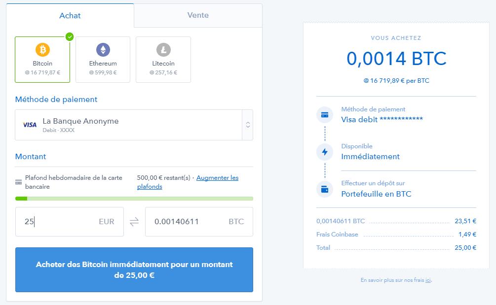 Achat de Bitcoin sur CoinBase