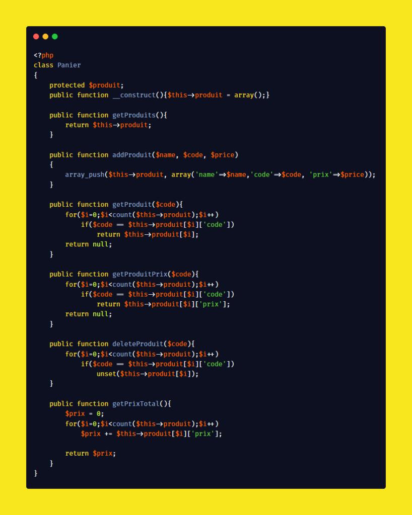 Première version du fichier Panier.php