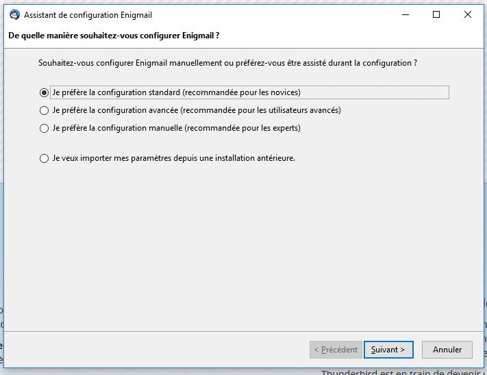 Assistant de configuration d'Enigmail sur Thunderbird