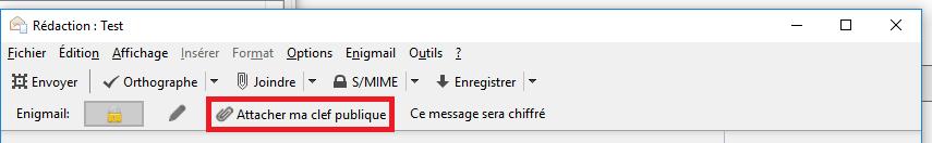 Attacher ma clé publique par mail avec Enigmail