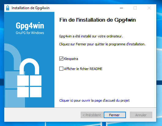 Installation Gpg4Win fini