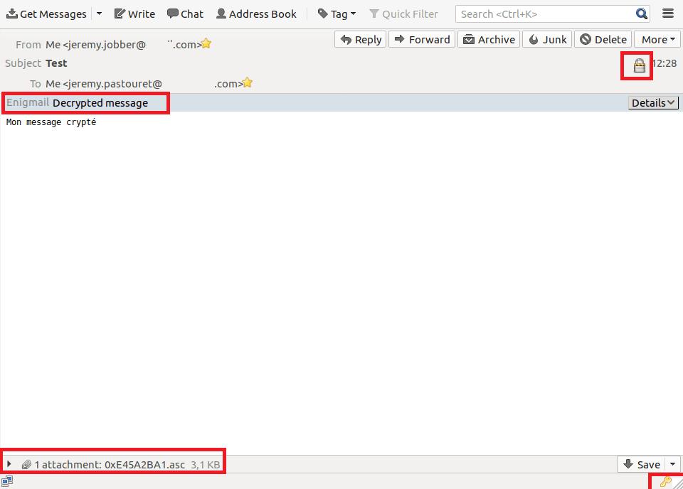 Lire un mail crypté avec Enigmail