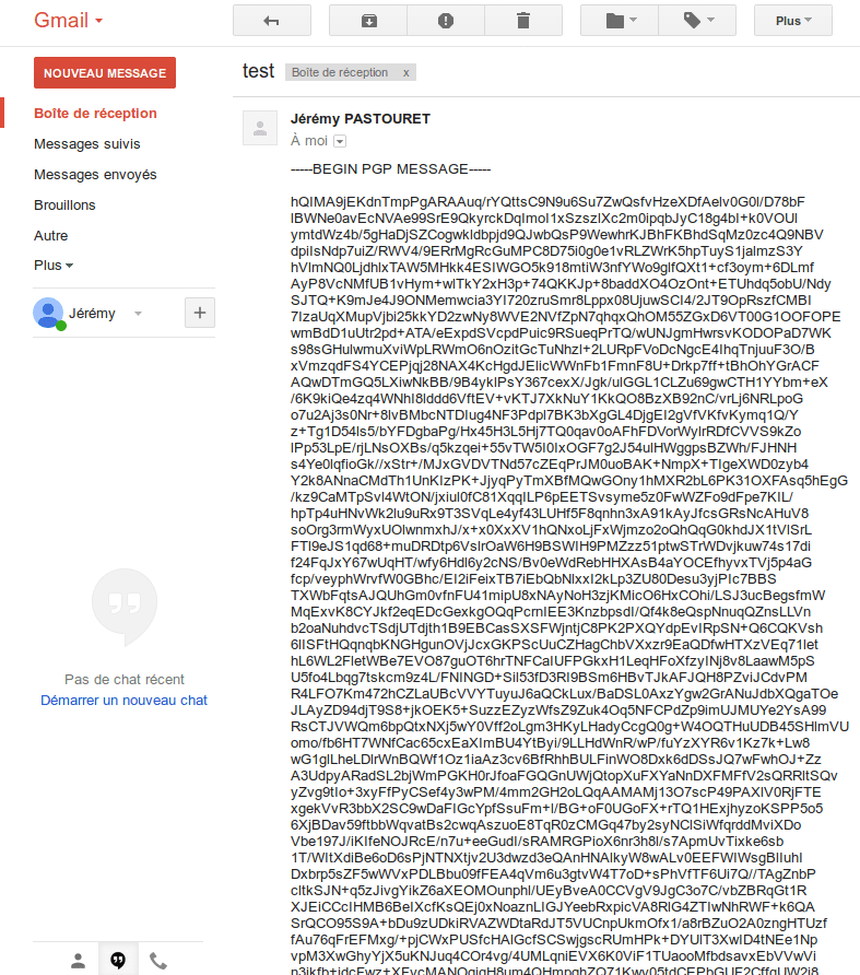 Mail cryptés reçu par Gmail