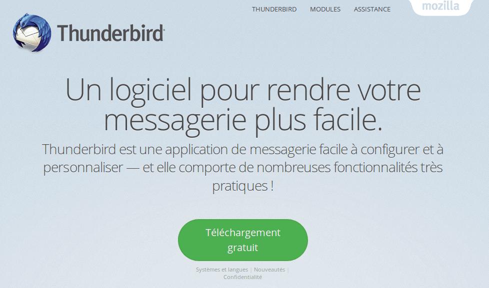 Téléchargement de Thunderbird