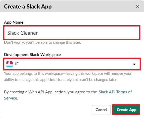 Création d'une application Slack