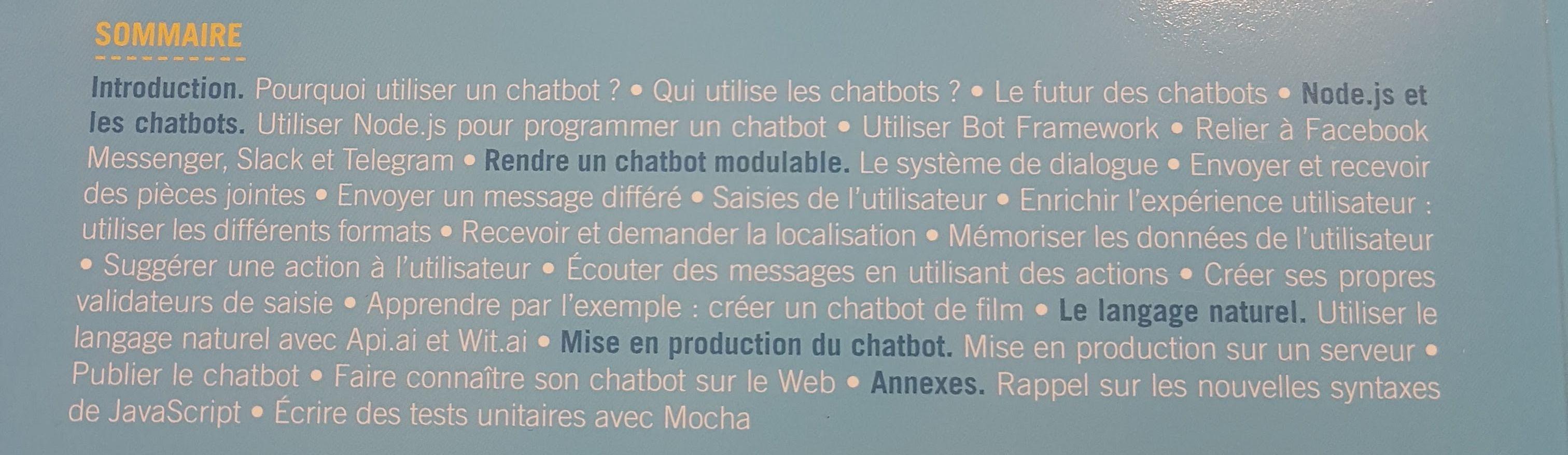 Le sommaire de Comprendre et développer un ChatBot