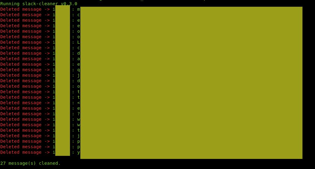 Message supprimer Slack