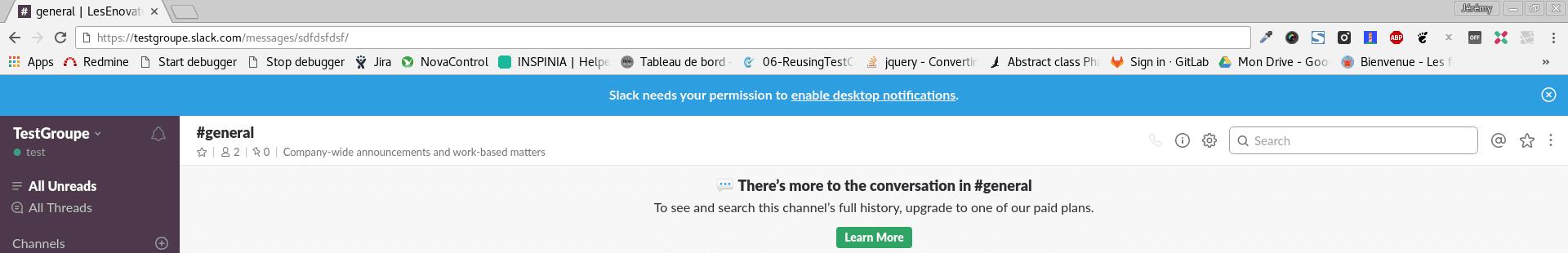 Slack on Chrome