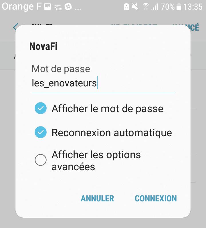 Ajout du mot de passe pour accéder au Wifi