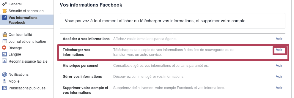 Voir les options de téléchargement de données Facebook