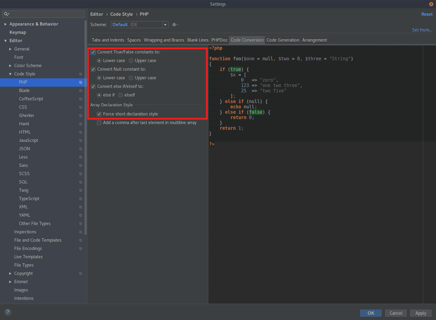 Code Conversion in PHPStorm
