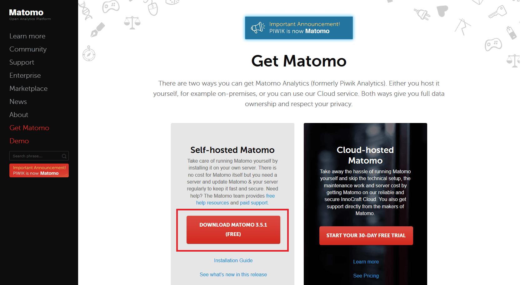 Téléchargement de Matomo