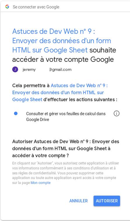 Autorisation de gérer des feuilles Google Sheet
