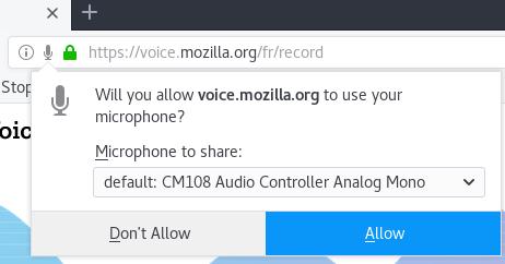 Autorisation du microphone sur Mozilla