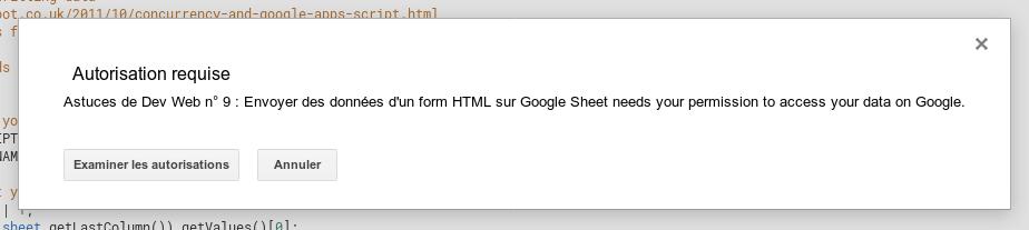 Autorisation requise Google Script