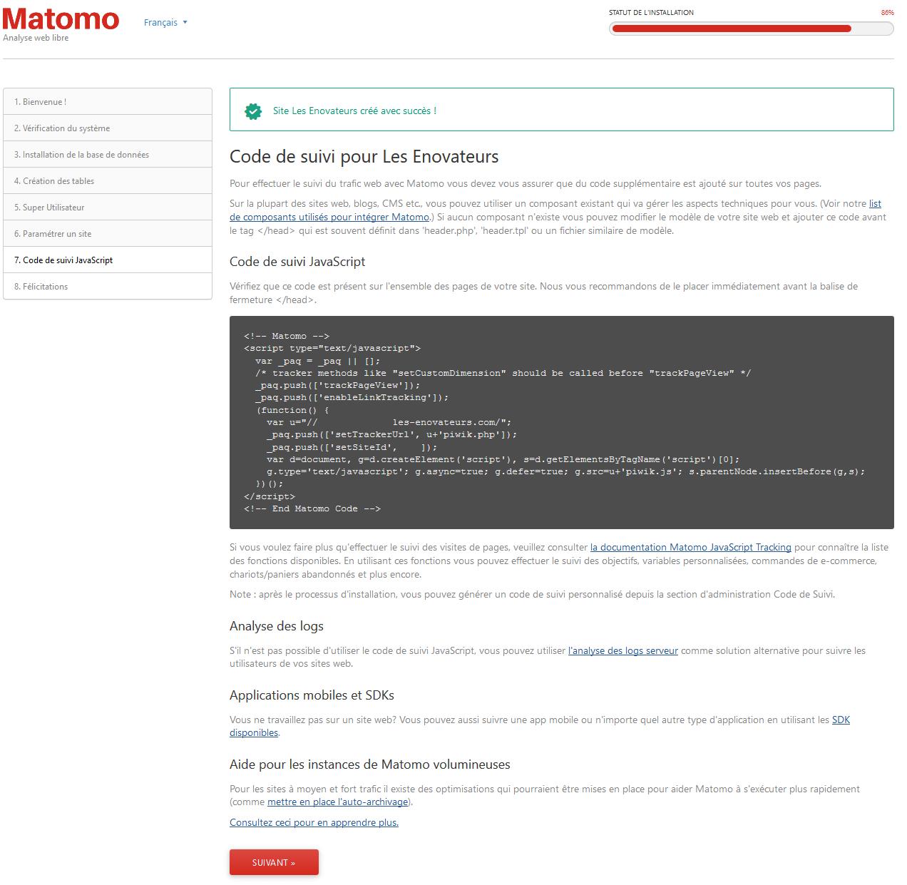Code de suivi Javascript sur Matomo