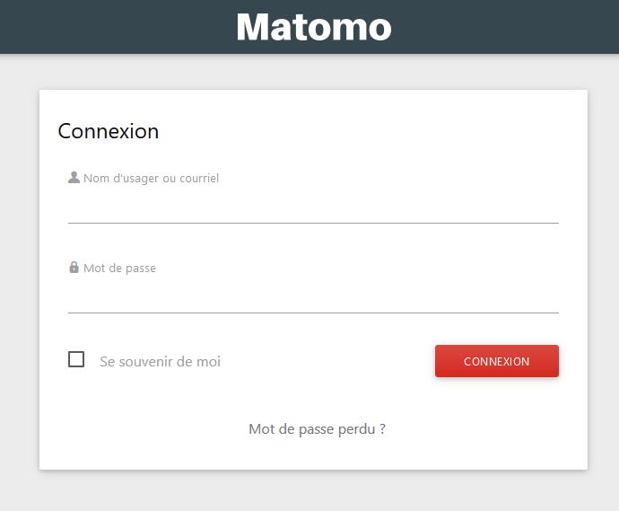 Connexion sur Matomo