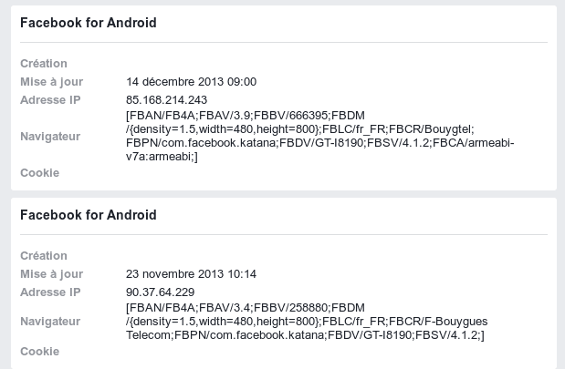 Connexions autorisées sur Facebook