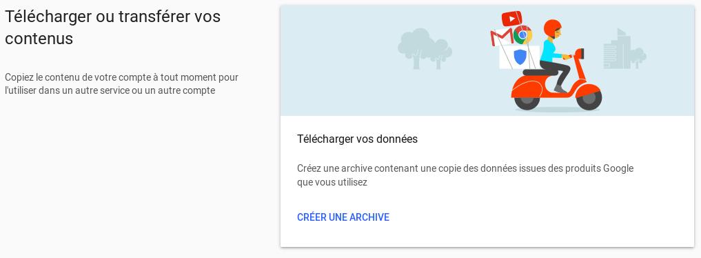 Créer une archive Google