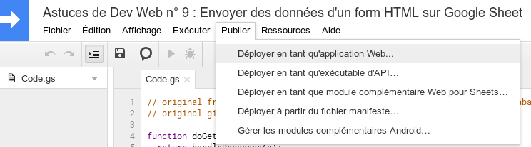 Déployer en tant qu'application Web Google Sheet