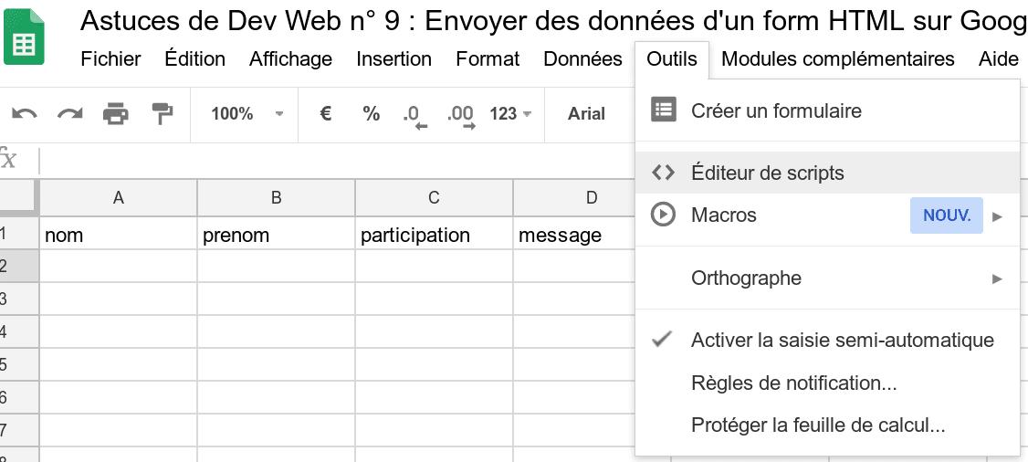 Editeur de script sur Google Sheet