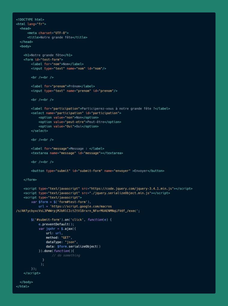 Envoyer les données d'un formulaire HTML sur Google Sheet