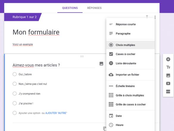 Exemple de création de formulaire avec Google Form