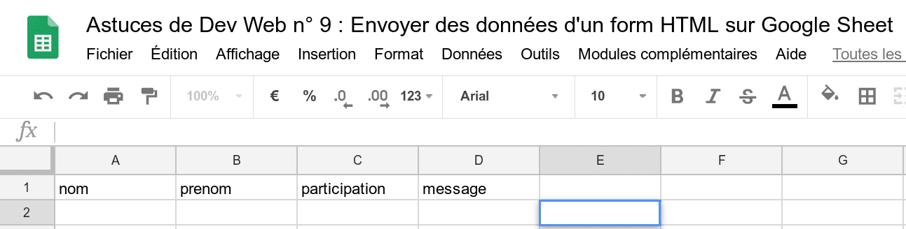 Feuille Google Sheet