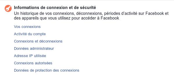 Informations de connexion et de sécurité sur Facebook