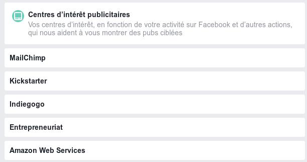 Mes Centres d'intérêts Facebook