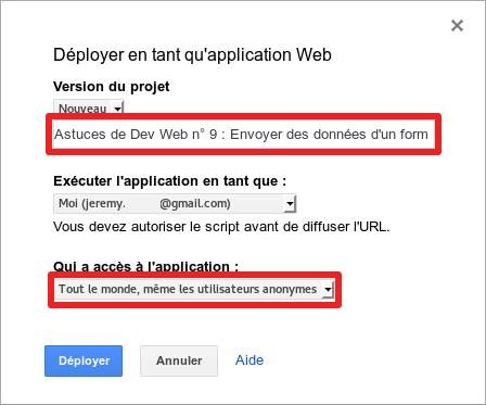 Paramètres pour déployer en tant qu'application Web