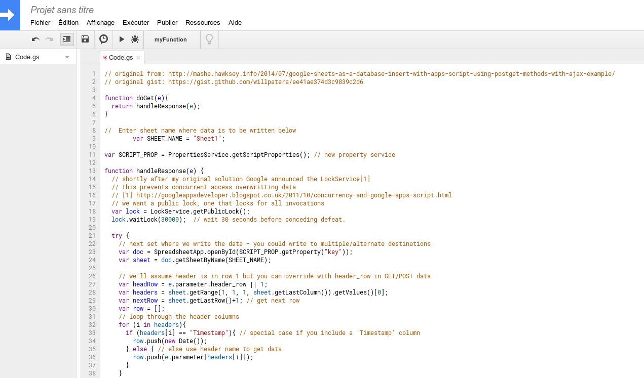 Remplacement du code dans l'editeur de Google Sheet