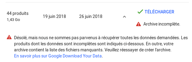 Téléchargement de l'archive Google