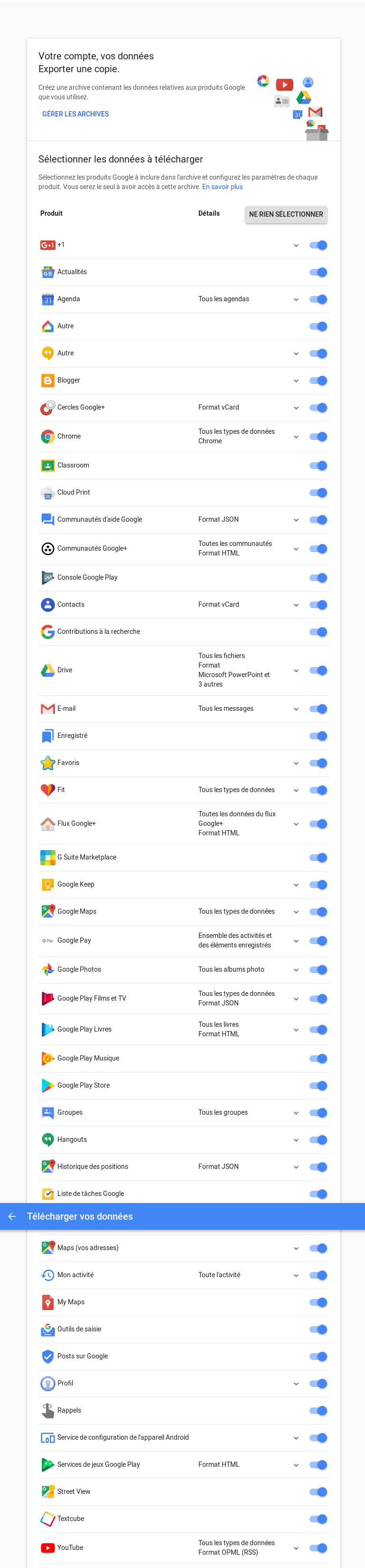 Télécharger vos données Google