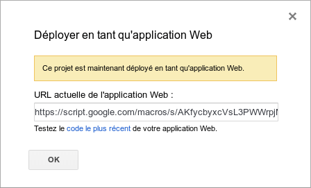 Url de l'application Web Google Script