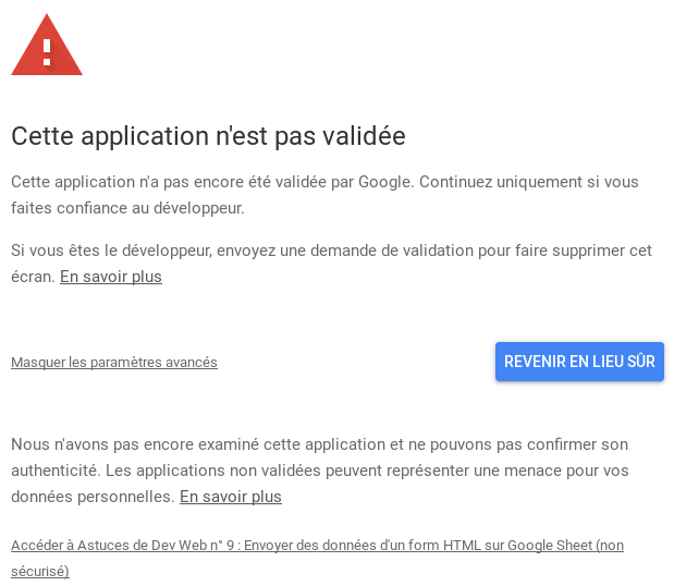 Validation d'application Google Script