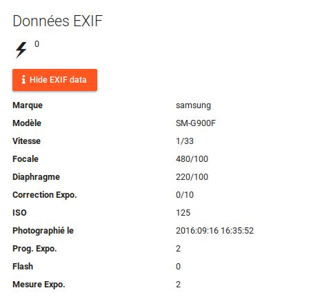 Meta-data Exif avec Piwigo