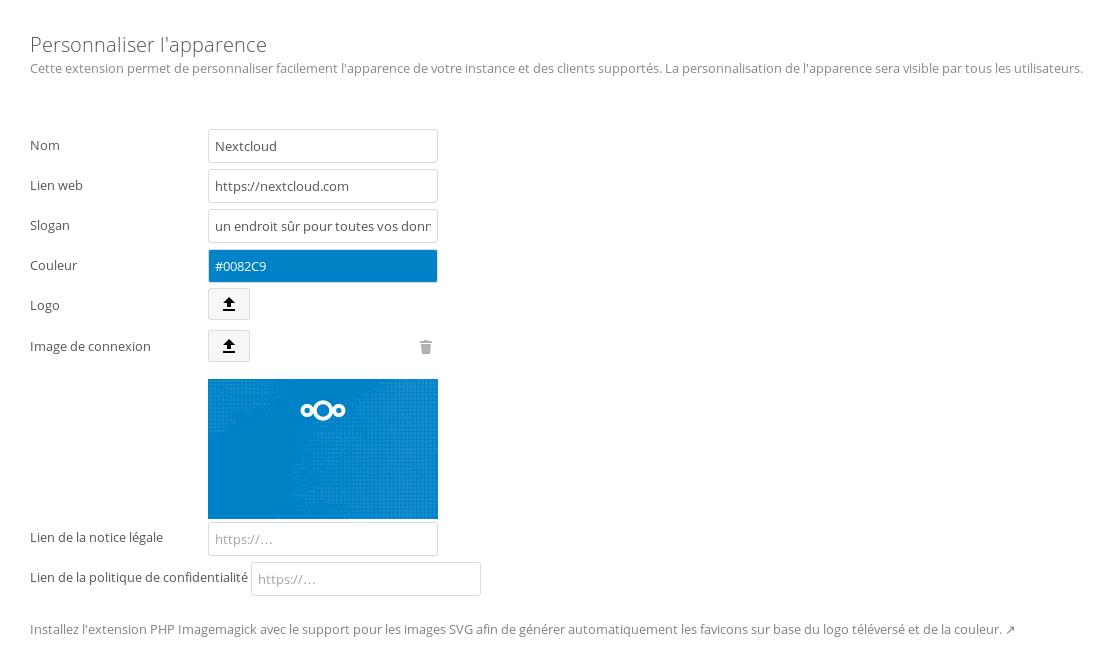 Personnalisation sous NextCloud