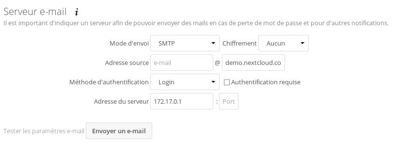 Serveur SMTP NextCloud