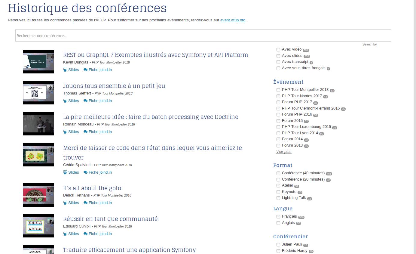 Liste des conférences sur l'AFUP