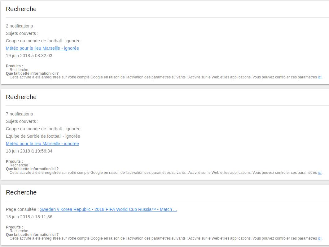 Détail de mon activité de Recherche Google