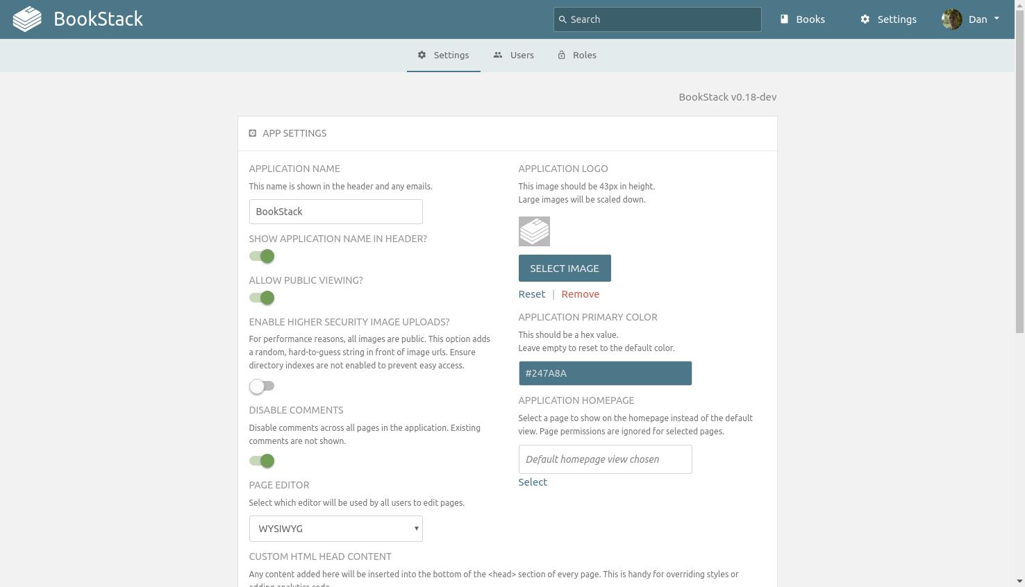 Personnalisation de la plateforme BookStack